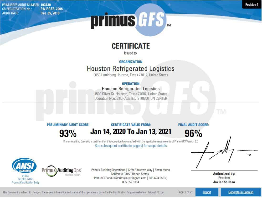 Houston Refrigerated Logistics, Inc. - Certification2