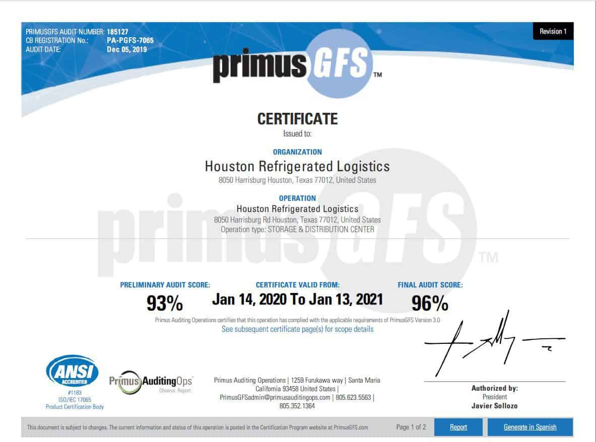 Houston Refrigerated Logistics, Inc. - Certification4